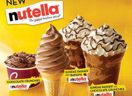 Soft serve ice cream mixed with Nutella